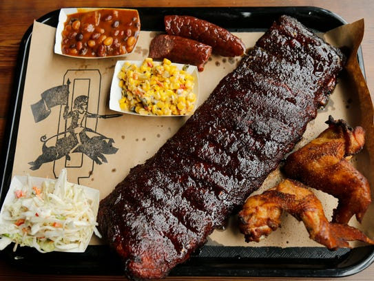 A barbecue platter at Lucius Q in the Pendleton neighborhood