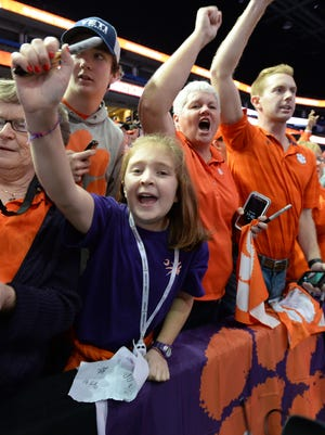 Clemson fans cheer during the Tigers National Championship Media Day in Tampa on Saturday, January 7, 2017.