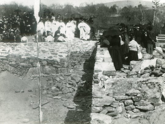 Photo taken in 1891 shows the foundation and the celebration of the start of the new construction for Milton's Trinity Episcopal Church.