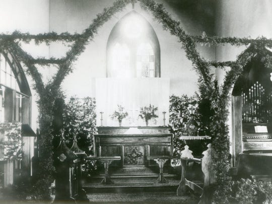 An early photo of the interior of the Trinity Episcopal Church in Milton.