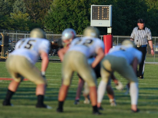 The play clock winds down during Friday's West Lafayette-Tri-West game.