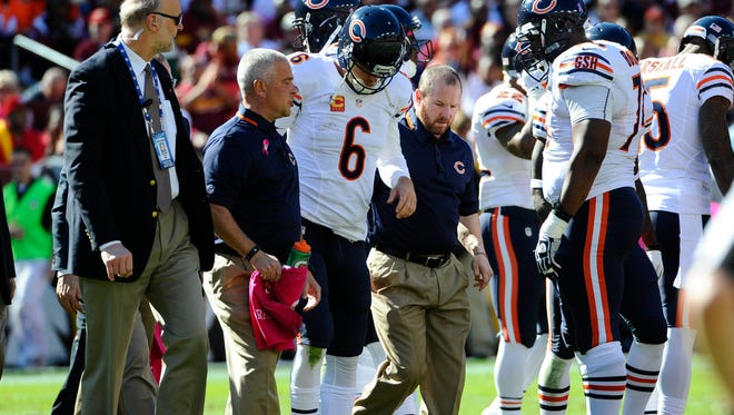 Bears QB Jay Cutler did not return from Sunday's game at Washington after injuring his groin.