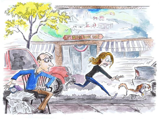 Local cartoonist  has fun with columnist Caurie Putnam by creating a cartoon of her chasing a runaway shih tzu in Brockport.