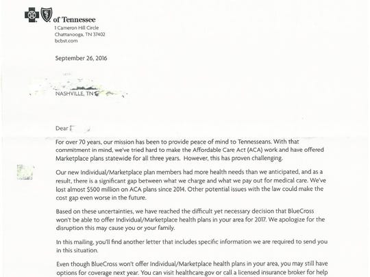 BlueCross BlueShield of Tennessee mailed letters to