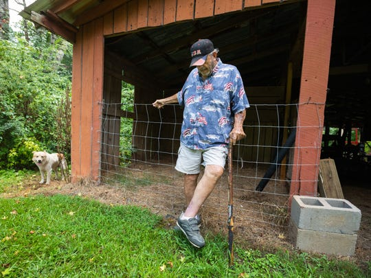 Ray Gustafson  leg begun to heal after Bobo the donkey