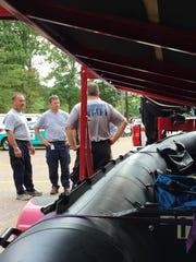 Members of Vermont Task Force 1 Swift Water Rescue Team prepare to leave for Houston on Thursday to help with post-Hurricane Harvey flooding. Photographed Aug. 31, 2017.