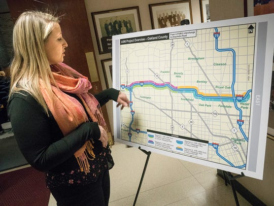 MDOT engineer Courtney DeFauw explains the map detailing