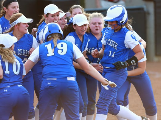 Oak Creek pitcher Becca Oleniczak (#11) gets a warm