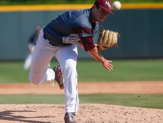 Dylan Coleman delivers the pitch during the MSU Bears