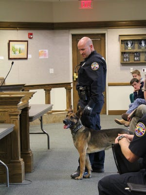 K-9 Officer Kirk Lovell and new four-legged partner Max pay a surprise visit to the Cedar City Council during a meeting April 18, 2018.