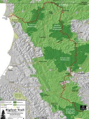 A map of the Bigfoot Trail