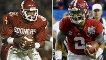 Jalen Hurts, right,  has a chance  to become only the second true freshman starting quarterback to win a national title as Jamelle Holieway, left, was the first to do it back in 1985 at Oklahoma.