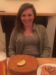Jenna Intersimone and a pork schnitzel from Figlmueller, an iconic restaurant in Vienna, Austria.