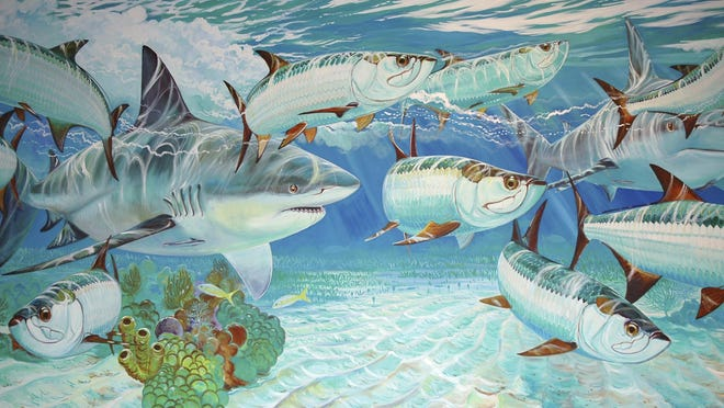 "A Guy Harvey print entitled ""Caribbean Encounter."""