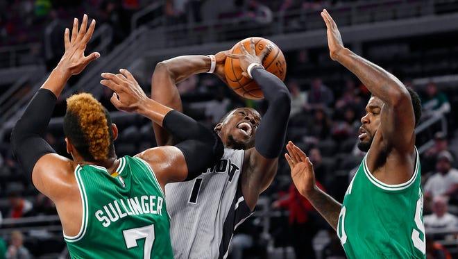 Reggie Jackson drives against the Celtics on Wednesday night.