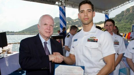 Sen. John McCain promoted a Simi Valley man enlisted in the U.S. Navy to lieutenant in a ceremony Friday in Vietnam.
