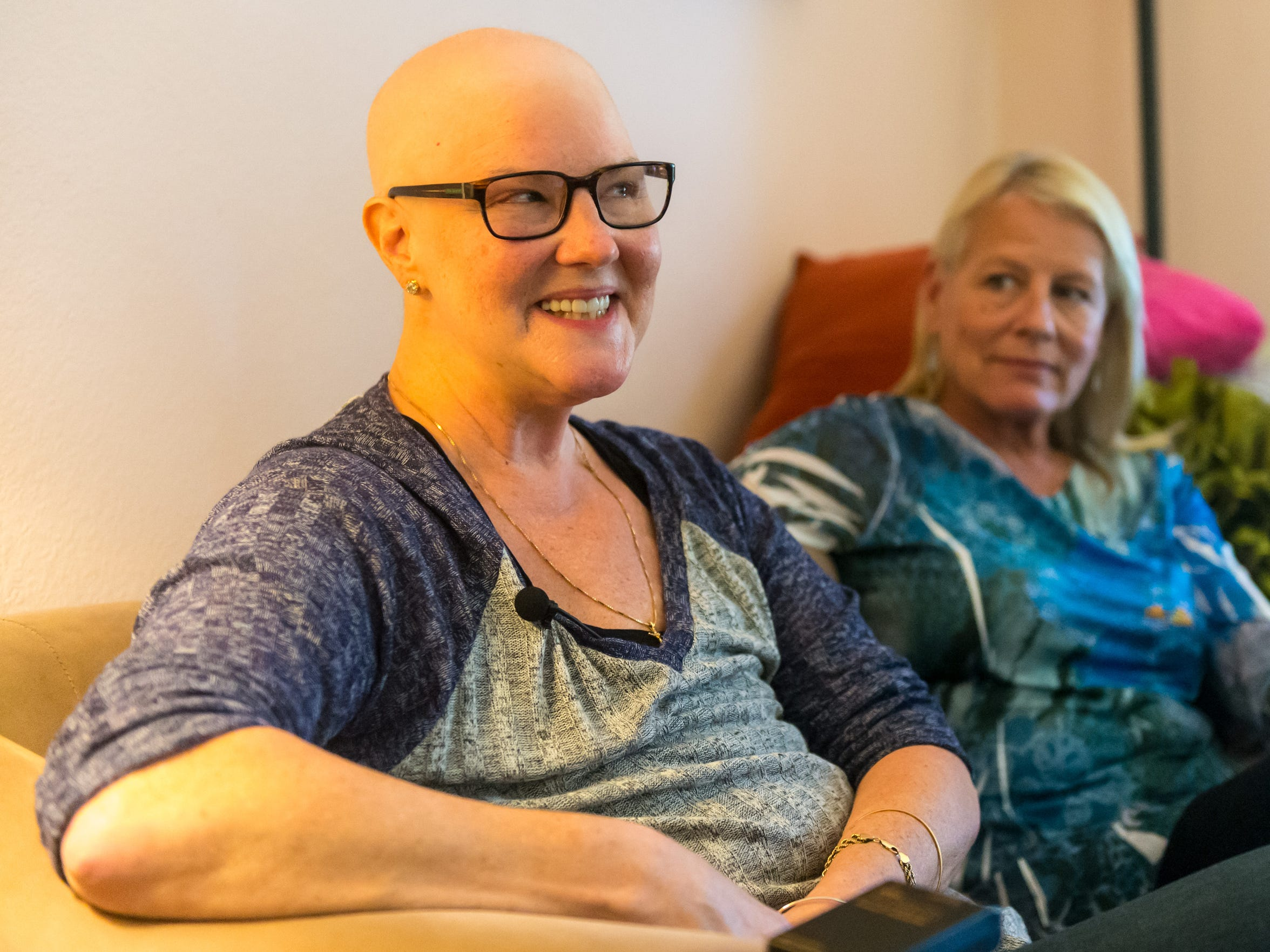 Lisa Welling, shares her experience with breast cancer at her home in Millville.
