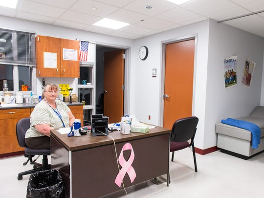 Snow Hill High School's nurses office opened with Phase 2, doubling beds while expanding storage and the bathroom.