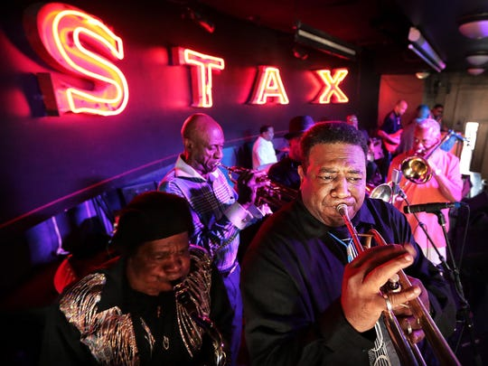 John Sangster (left), Anthony Royal,  Durelle 'Bluebain' Hagan and Dennis Bates, friends of the late great trumpet player Ben Cauley, play 'Soul Finger' at Alfred's on Beale Street. Stax legend Ben Cauley, one of the original Bar-Kays, was inducted as the 154th note on the Beale Street Walk of Fame.