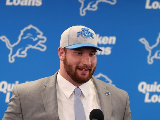 The Detroit Lions first-round NFL football draft pick Frank Ragnow addresses the media, Friday, April 27, 2018, in Allen Park, Mich.