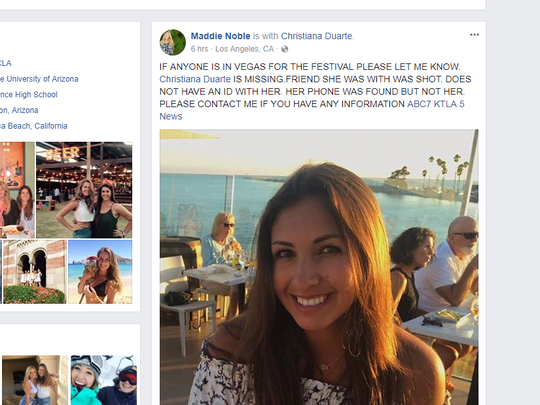 Family and friends spent Monday desperately searching for Christiana Duarte, a recent UA graduate. The 22-year-old was attending the country music festival with her brother's girlfriend Sunday night when the shootings occurred.