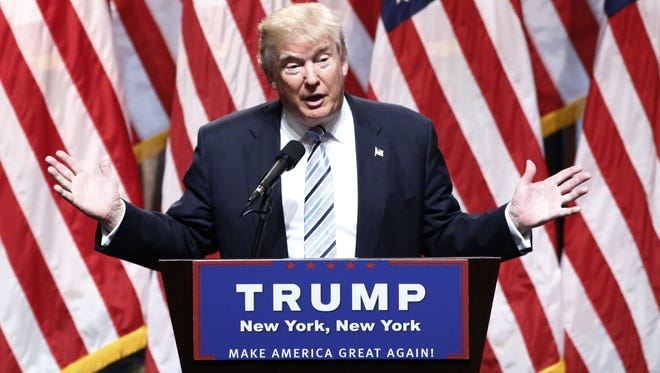 Republican presidential nominee Donald Trump speaks in New York on July 16, 2016, during a news conference.