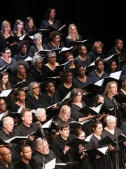 The Memphis Symphony Chorus performs during the MLK50 Luminary Awards Concert at Cannon Center for the Performing Arts Monday, April 2, 2018, in Memphis, Tenn.