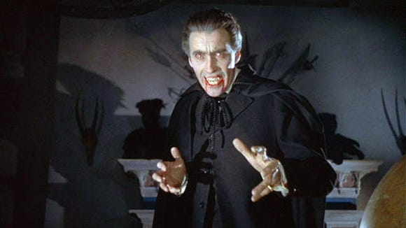 Christopher Lee as Dracula in the 1958 Hammer Films production HORROR OF DRACULA.  Credit: Universal Pictures.