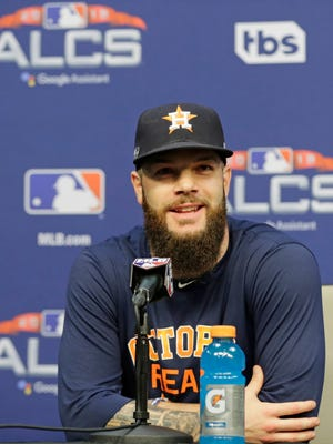 Houston Astros starting pitcher Dallas Keuchel speaks during a news conference at a baseball workout Monday, Oct. 15, 2018, in Houston. The Astros will face the Boston Red Sox in Game 3 of the baseball American League Championship Series Tuesday Oct. 16 2018. (AP Photo/Frank Franklin II)