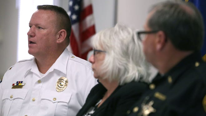 Mansfield police Chief Ken Coontz, along with Richland County Prosecutor Bambi Couch Page and Sheriff Steve Sheldon, talks about the recent crackdown on drug dealers who lace heroin with fentanyl at a press conference on Thursday.