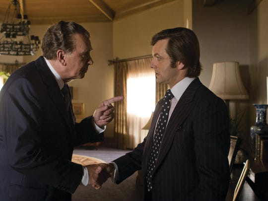 "Frank Langella portrays Richard Nixon, left, and Michael Sheen portrays David Frost in a scene from the film, ""Frost/Nixon."""