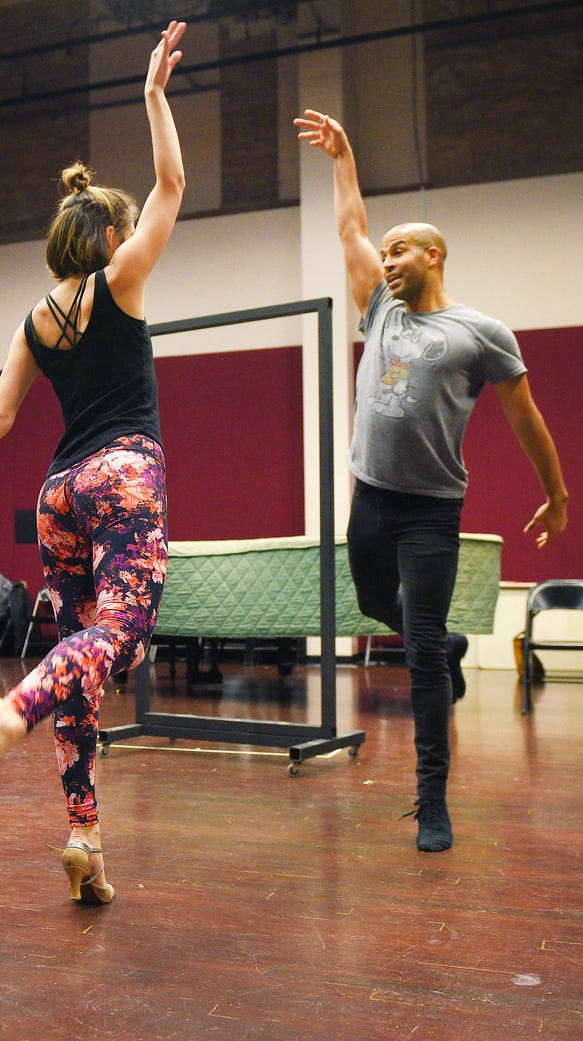 Brittany Bigelow and Jody Reynard rehearse for the