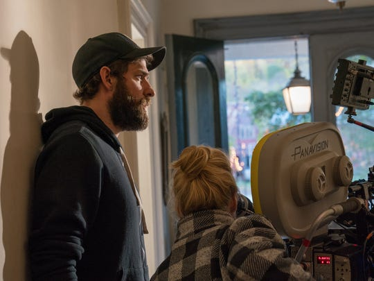"""John Krasinski on the set of """"A Quiet Place"""" with director"""