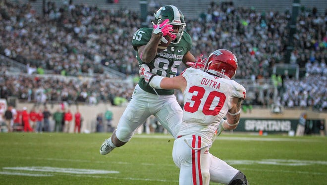 Michigan State receiver Macgarrett Kings Jr. runs for the end zone in the Spartans' victory over Indiana.