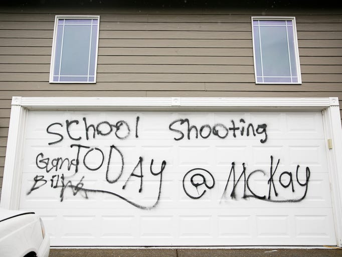 Spray paint threatening violence at McKay High School