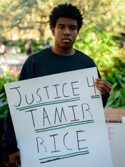 Students for a Democratic Society protest in honor of Tamir Rice and Sandra Bland Tues., Jan. 12, 2016 in the Free Speech Zone at Florida State University in Tallahassee, Florida.