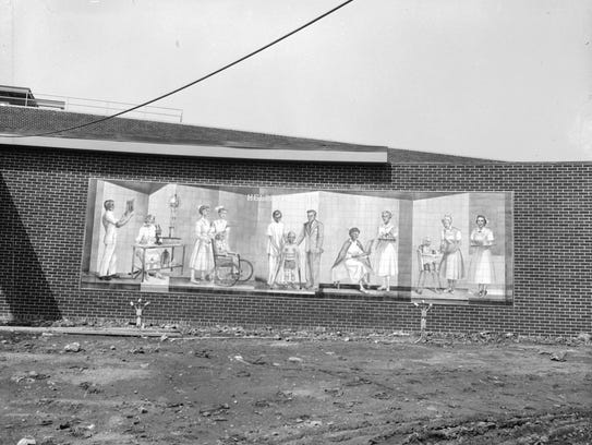 Mural on the front of the nurses' wing at the Burge