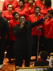 The Montreal West Gospel Choir performs at an annual Martin Luther King Jr. Day remembrance at the First Unitarian Universalist Society church on Sunday in Burlington.
