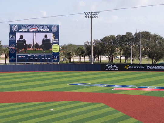 Artificial turf and an elaborate scoreboard have been installed at the main stadium as part of the upgrades to the USSSA Space Coast Complex in Viera.