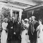 Brother Van (with hand inside his coat) officiated at many weddings around the state, including Helena newspaperman Charles Greenfield's marriage to Elizabeth Nelson in 1913, probably in her home in Vandalia, northwest of Glasgow. But Brother Van himself never married.
