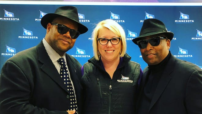 Shorewood native Andrea Mokros, vice president of communications and events for the Minnesota Super Bowl Host Committee, poses with music producers Jimmy Jam (left) and Terry Lewis, who are producing the concerts during the Super Bowl Live celebration.