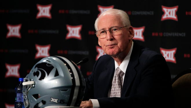 Kansas State Wildcats coach Bill Snyder speaks to the media during the Big 12 Media Days in Dallas.