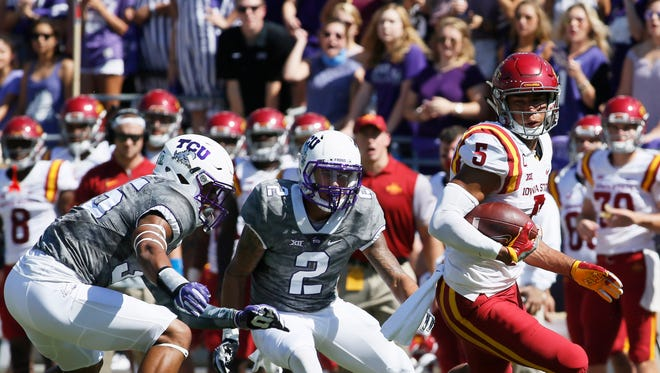 Iowa State Cyclones wide receiver Allen Lazard (5) returns a kick in the first quarter against the TCU Horned Frogs on Saturday, Sept. 17, 2016, at Amon G. Carter Stadium.
