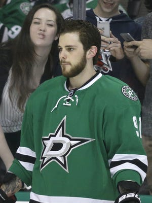 Dallas Stars center Tyler Seguin warms up before a game against the Buffalo Sabres on March 23, 2015, in Dallas.