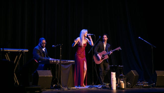 Emily Wyrick with Julius Blue, left, and Travis Wyrick, will perform Saturday, July 29, at the Open Chord.