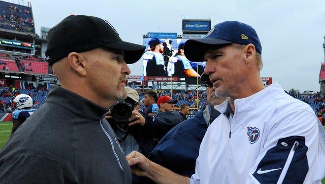 Titans coach Ken Whisenhunt and Falcons coach Dan Quinn talk after Atlanta's 10-3 victory