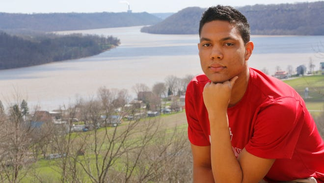"Evan Stoner is a freshman at Hanover College and has organized Jeffersonville's first LGBT pride parade this coming summer. He is seen at the ""point,"" a spot on campus overlooking the Ohio River. March 16, 2016."