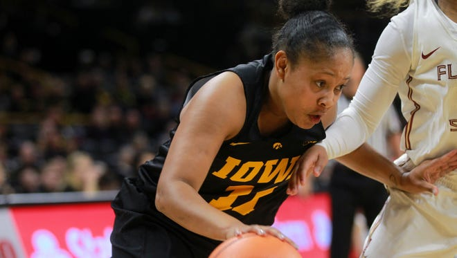 Iowa's Tania Davis drives to the hoop during the Hawkeyes' game against No. 13 Florida State at Carver-Hawkeye Arena on Wednesday, Nov. 29, 2017.