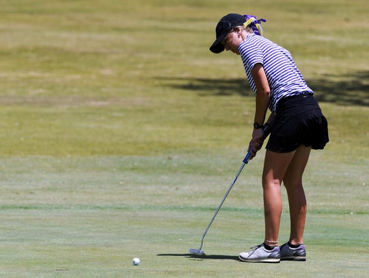 Wylie's Brylee Valentine putts on the No. 13 green