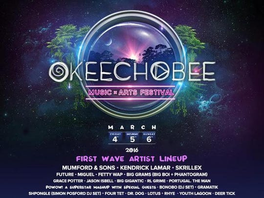 The Okeechobee Music and Arts Fest posted this flier on social media Thursday. It lists the first wave of bands being announced for the March 2016 event.